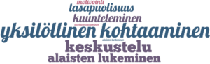 Sanapilvi, jossa kuvataan AHOT-haastattelukommenttien jakautuminen eri teemoihin vuorovaikutustaidot-osiossa