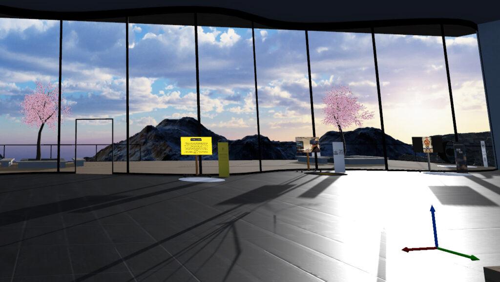 Kuva virtuaalisesta näyttelytilasta isoine ikkunoineen