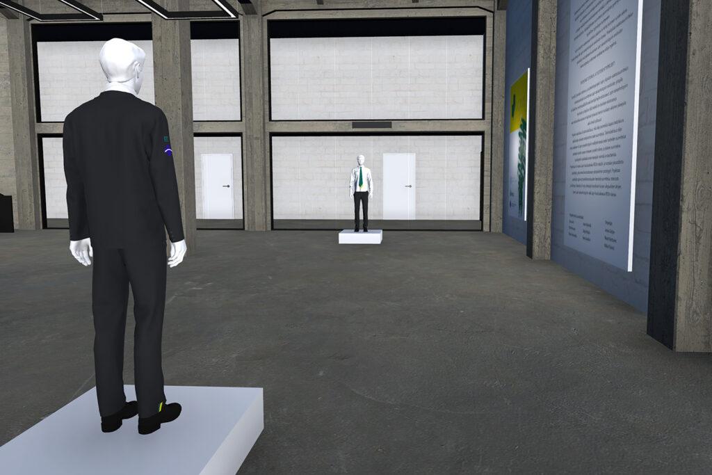 Kuva virtuaalisesta näyttelytilasta, jossa on esillä vaatteita