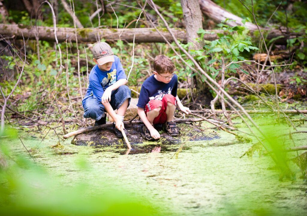 kuvituskuva, jossa kaksi lasta metsälammen rannalla.