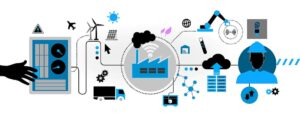 piirros joka havainnollistaa teollisen tuotannon ja automaation monimutkaisia prosessiketjuja