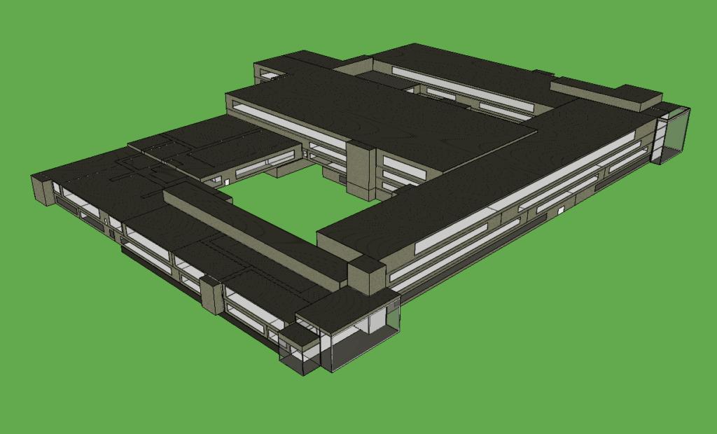 piirroskuva, jossa ICE-ohjelmalla tehty mallinnus M19-kampusrakennuksesta