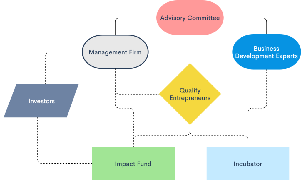 A framework consisting of Advisory committee, management firm, business development experts, qualify entrepreneurs, investors, impact fund and incubator