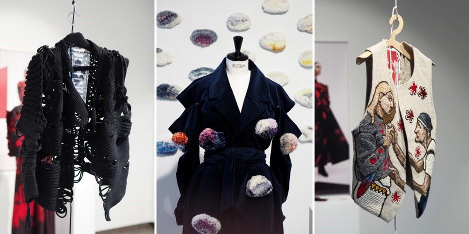 Value of Clothing -muoti-installaation teoksia esillä LAB ammattikorkeakoulun Luja-galleriassa helmikuussa 2020