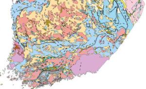 Etelä-Suomen peruskalliokartta kalliotyypeittäin, kvartsi punaisella
