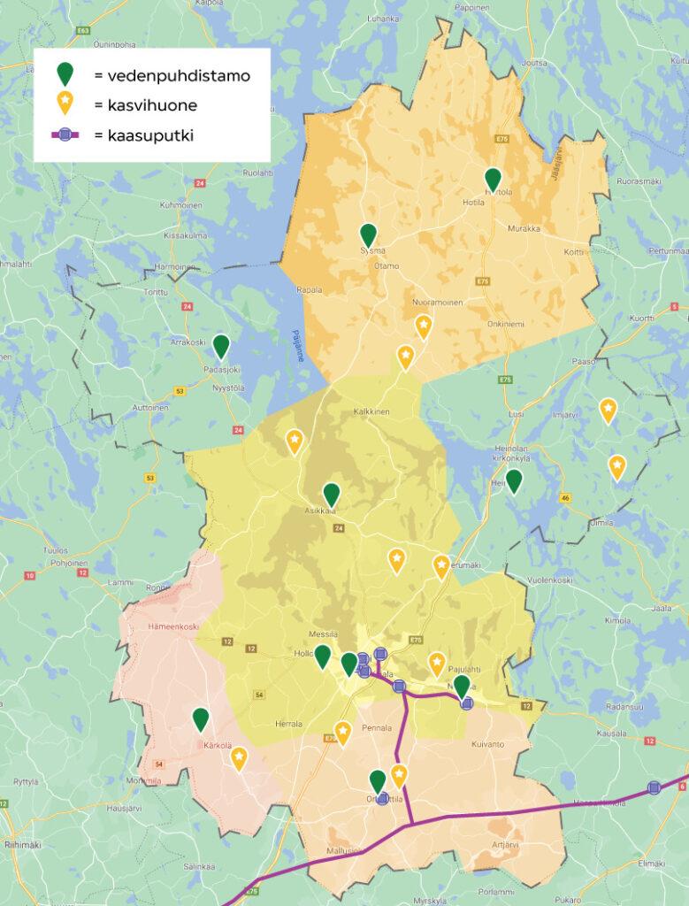 kartta, jossa kuvataan Päijät-Hämeen biokaasulaitoksen suunnittelusynergioita
