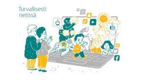"""Esimerkkinä hankkeessa tuotetuista materiaaleista piirroskuva aiheella """"Turvallisesti netissä"""". Kuvassa kaksi aikuista seisoo suuren auki olevan kannettavan tietokoneen edessä ja vilkuttavat lapselle, joka on kävelemässä kohti tietokoneen näyttöä. Tietokoneen näytölle ja sen ympärille on piirretty mm. lapsia, yksisarvinen, sosiaalisen median logoja ja uhkaavan näköinen """"mörkö""""."""