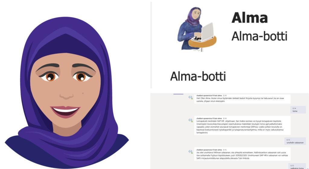 Kuva Alma-botin käyttäjänäkymästä