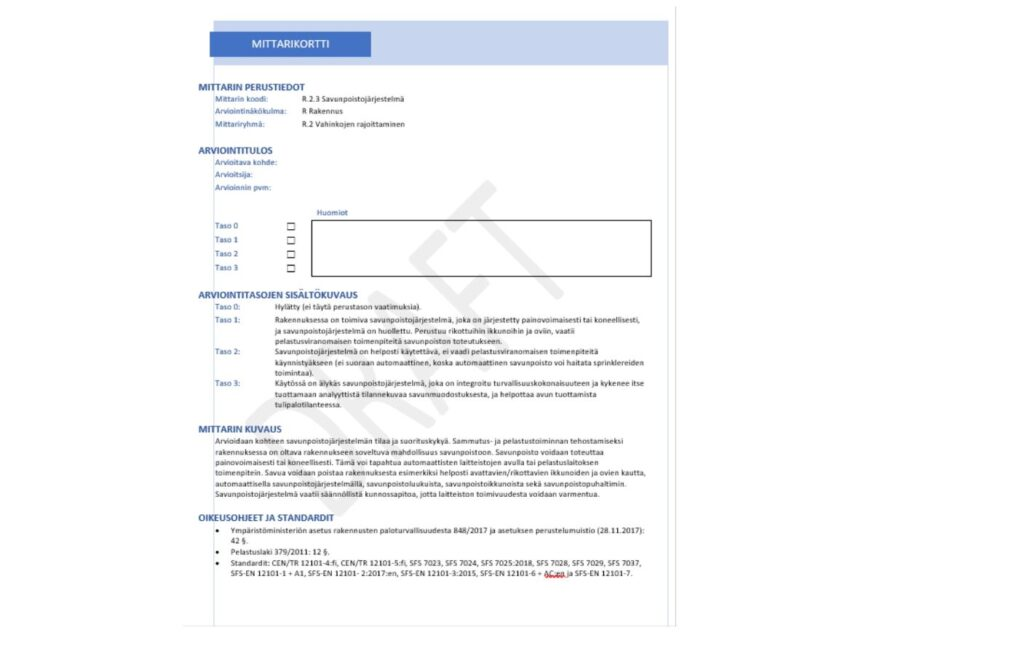 Kuvassa on savunpoistojärjestelmä-mittarikortti sisältää seuraavat osiot: mittarin perustiedot, arviointitulos, arviointitasojen sisältökuvaus, mittarin kuvaus sekä oikeusohjeet ja standardit.