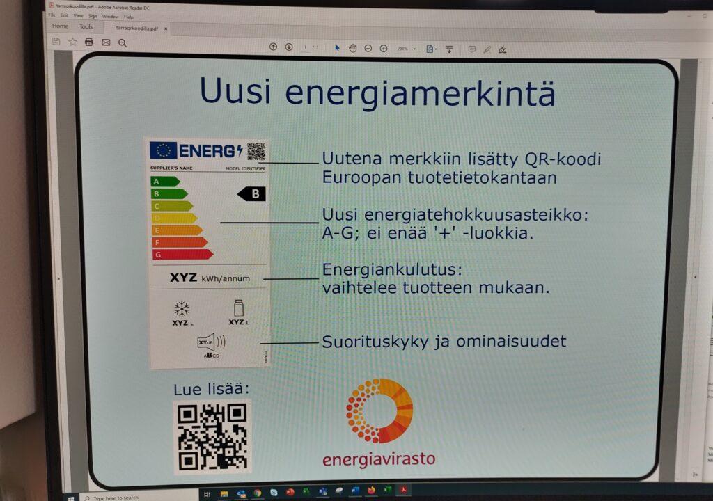 Kuvituskuva, jossa tietokoneen näytölle on avattu pdf-tiedosto uudesta energiamerkinnästä.