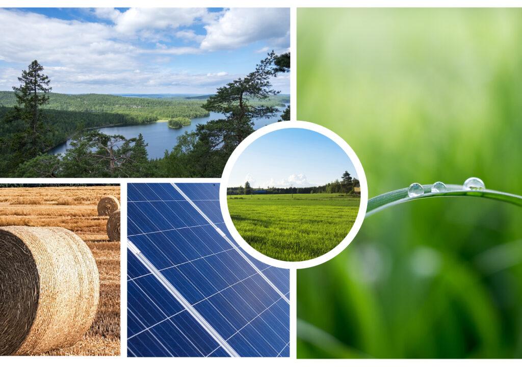 Kollaasi viidestä valokuvasta, joissa järvimaisema, heinäpeltoa, maaseutua, aurinkopaneeli ja vesipisara heinänkorrella.