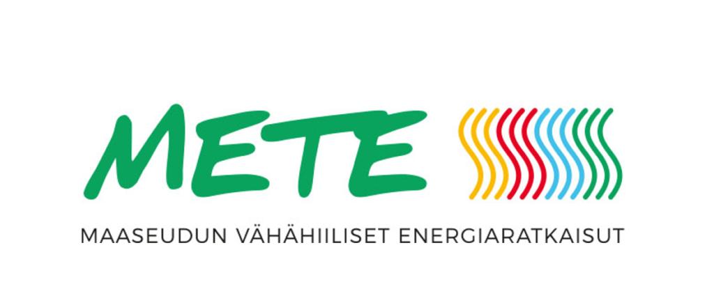 Maaseudun mikroyritysten vähähiiliset energiaratkaisut- hankkeen logossa on ylhäällä teksti METE ja alhaalla teksti maaseudun vähähiiliset energiaratkaisut. Logon värit tarkoittavat sähköä, lämpöä, jäähdytystä ja uusiutuvaa energiaa.