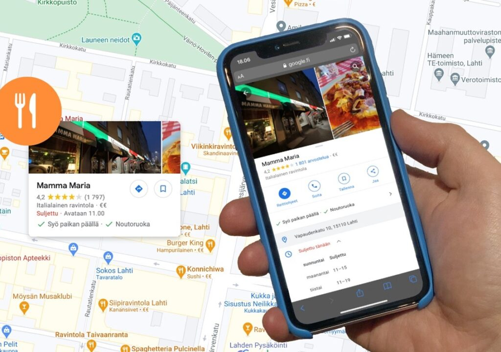Kuvituskuva jossa on taustalla Lahden kaupungin kartta ja siellä tarkenteena ravintola Mamma Maria. Kartan edessä on kännykkää pitelevä käsi. Kännykässä on avattuna googlesta haettuna ravintola Mamma Marian tiedot.