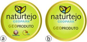 Kaksi eri versiota geoparkin logosta. Molemmat pyöreitä, vihreä taustaväri ja teksti naturtejo geopark geoproduto.