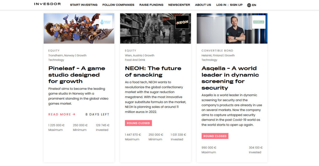 Three crowdfunding campaigns from Invesor platform. One game project and to others. maximum amounts the campaigns are seeking are between 990 000 - 1 447 870 euros.