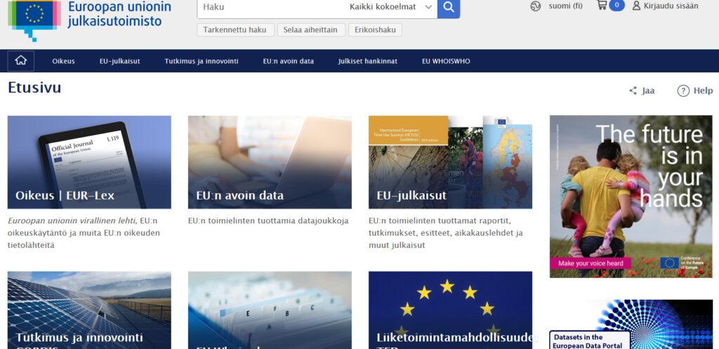 Euroopan unionin julkaisutoimiston portaali jakautuu useaan eri hakupalveluun, joita ovat mm. Oikeus, EU:n avoin data ja EU-julkaisut.
