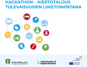 Graphic poster of the hackathon with title, date, time and logos of the organizers