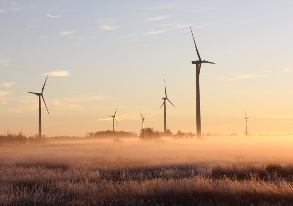 A group of wind turbines on a field.