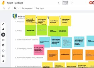 Desktop view of collaborative software with colorful post-it notes filled with important insight of possible sharing economy services.
