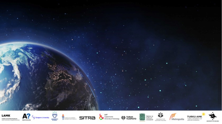 Valokuva maapallosta avaruudesta käsin nähtynä, kuvan alareunassa Climate Universityssa mukana olevien organisaatioiden logot.